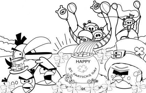 Angry Birds St PatrickS Day Coloring Pages