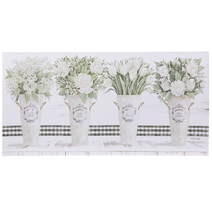 White Flowers In Pots Canvas Wall Decor Hobby Lobby 1952662 Canvas Wall Decor Wall Canvas Wall Decor