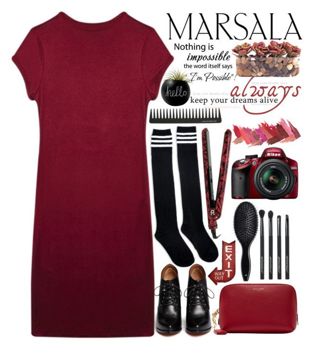 """""""Major Masala Dress"""" by dani-california996 ❤ liked on Polyvore featuring Givenchy, Wet Seal, Little Flower, Yves Saint Laurent, Japonesque, H&M, GHD, amika, Dot & Bo and Nikon"""
