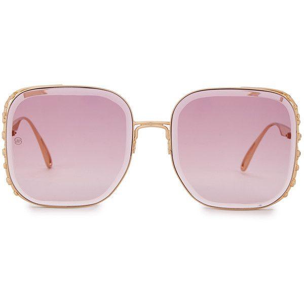d6ab2cc22fad Elie Saab Gold-plated Square-frame Sunglasses (£935) ❤ liked on ...