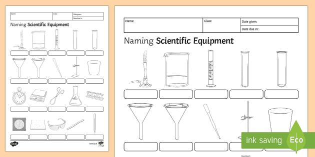 Naming Scientific Equipment Homework Activity Sheet - Homework ...