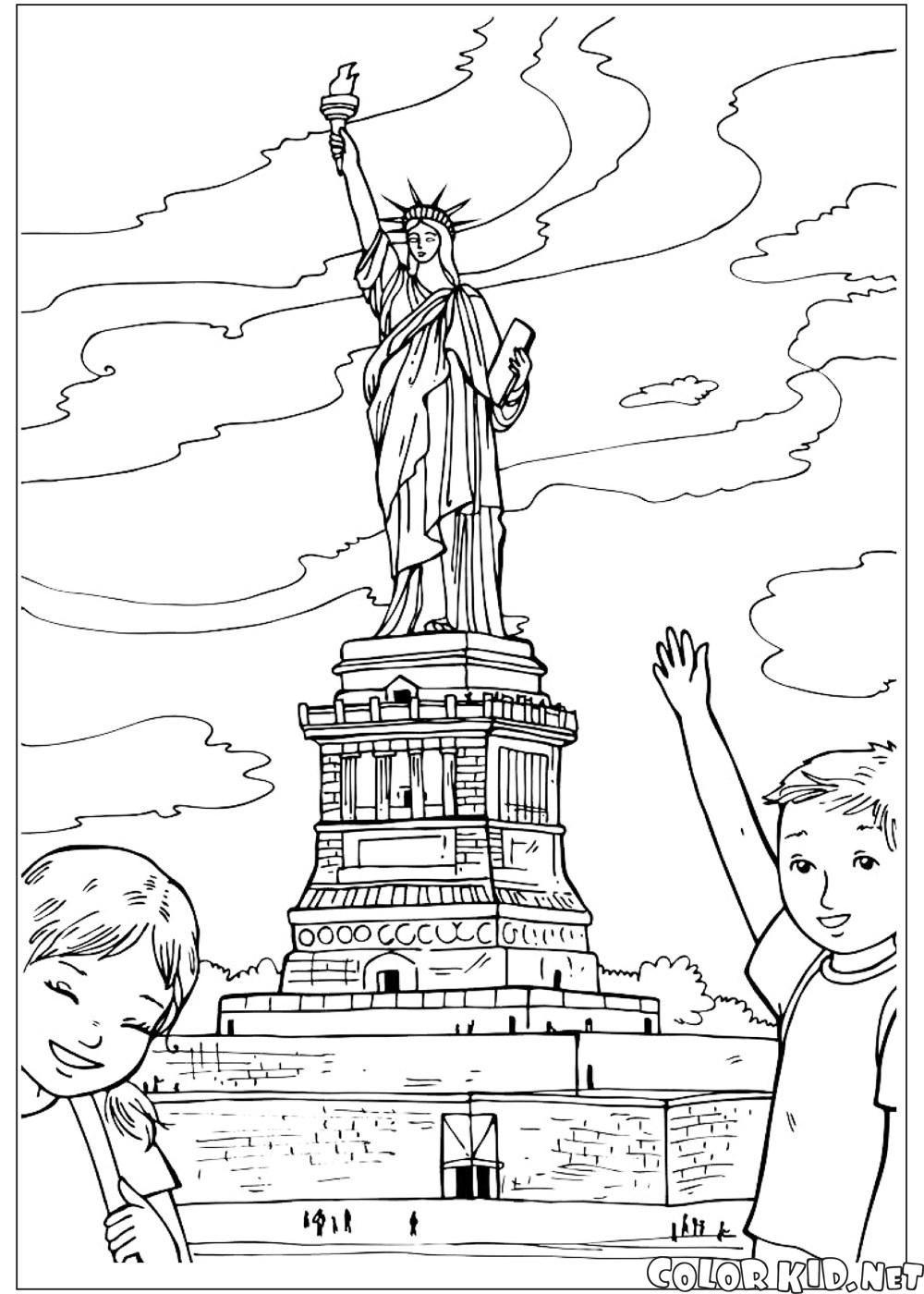 Descargar o imprimir la página para colorear Estatua de la Libertad ...