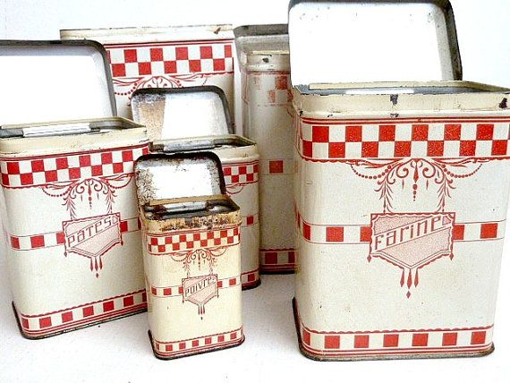 Antique Kitchen Canisters Set