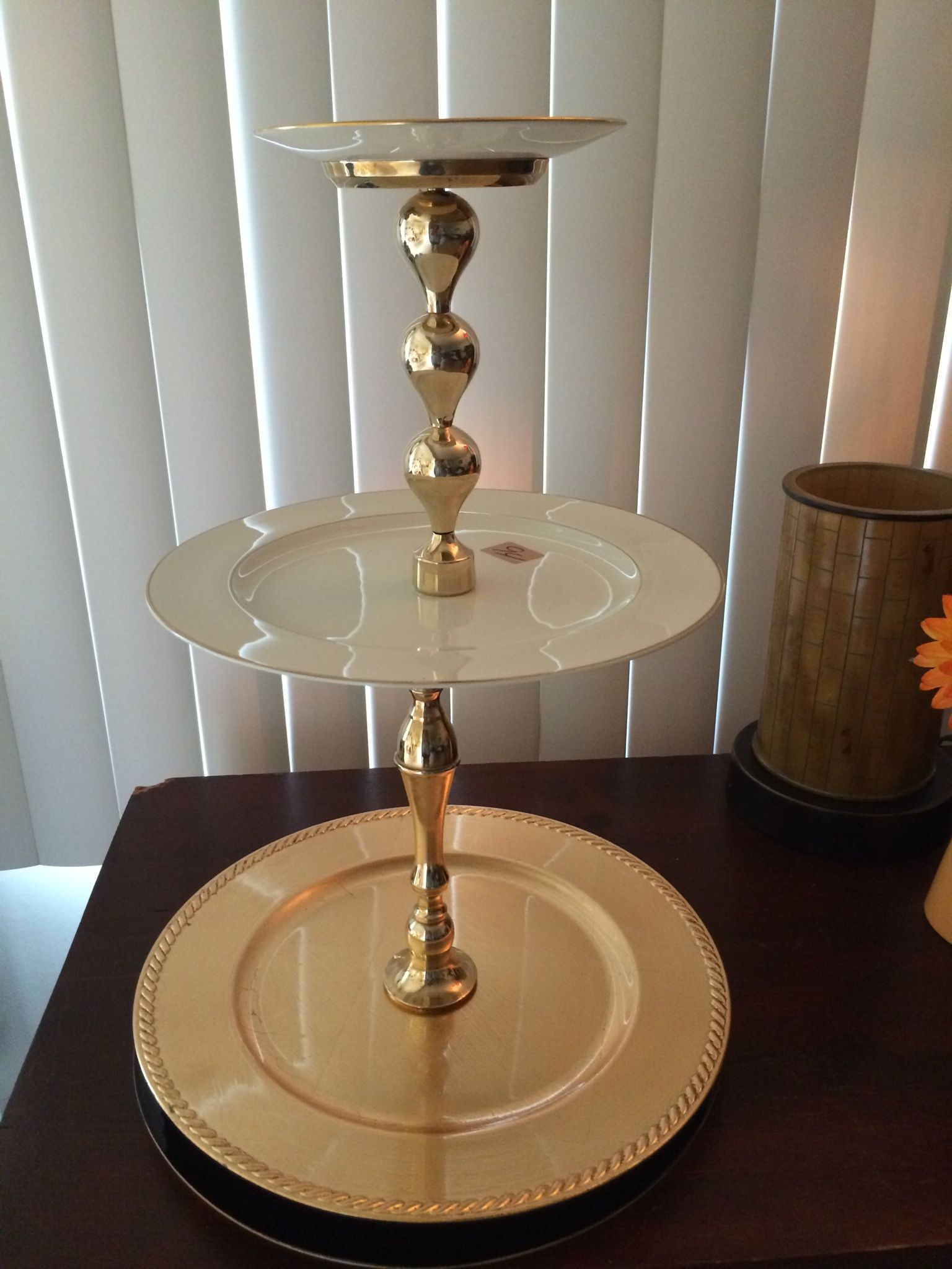 3 tier cookie plate with brass candle stick holders glued together & 3 tier cookie plate with brass candle stick holders glued together ...
