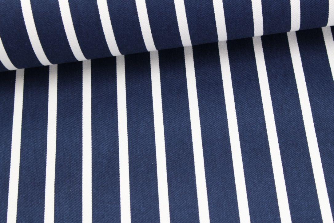 Baumwolle - Fester Stoff - Streifen - Navyblau auf alles-fuer-selbermacher.de