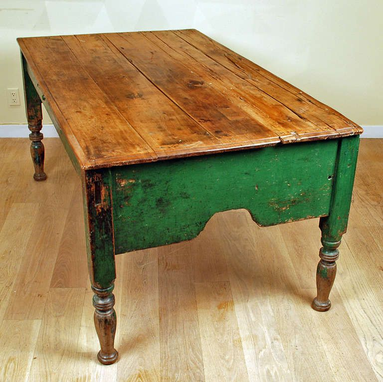 For Sale On   A Large And Impressive Early Century Mexican Painted Hacienda  Table With Large Scalloped Skirt.