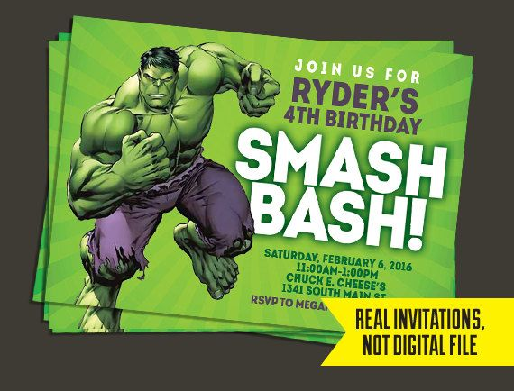 Hulk Invitation Hulk Birthday Invitation Pinterest