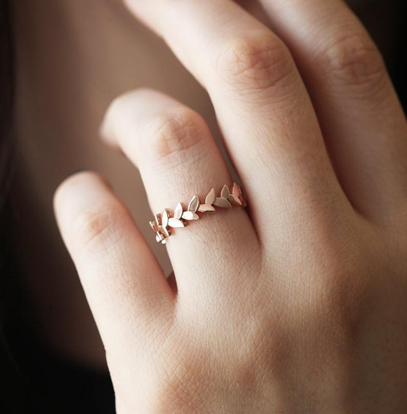 Wedding Ring, Leaf Band, 14k Gold Ring, 18k Eterni