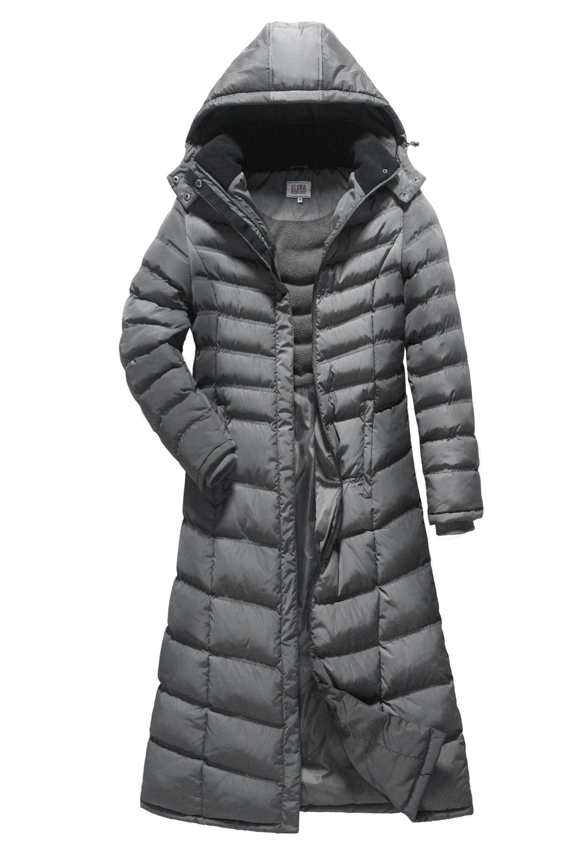 cfb0d125d8e ELORA Women s Full length fleece trim puffer maxi coat in 2019