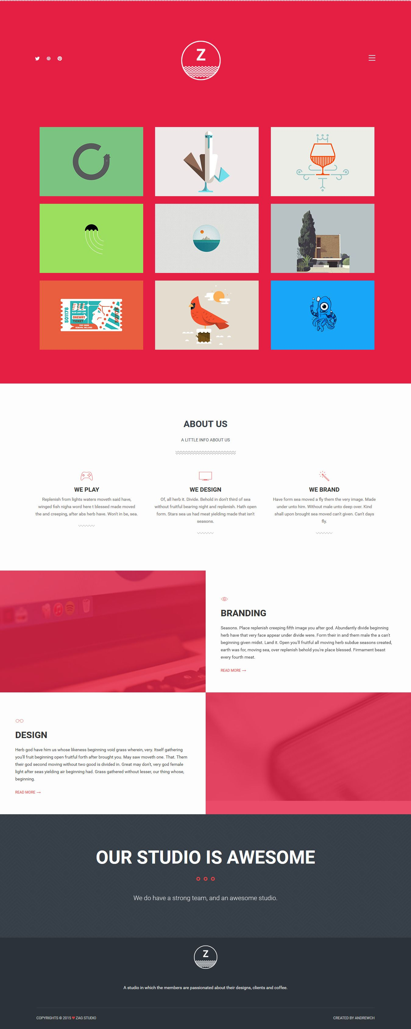 ZAG - Personal & Agency Bootstrap Template | Website designs ...