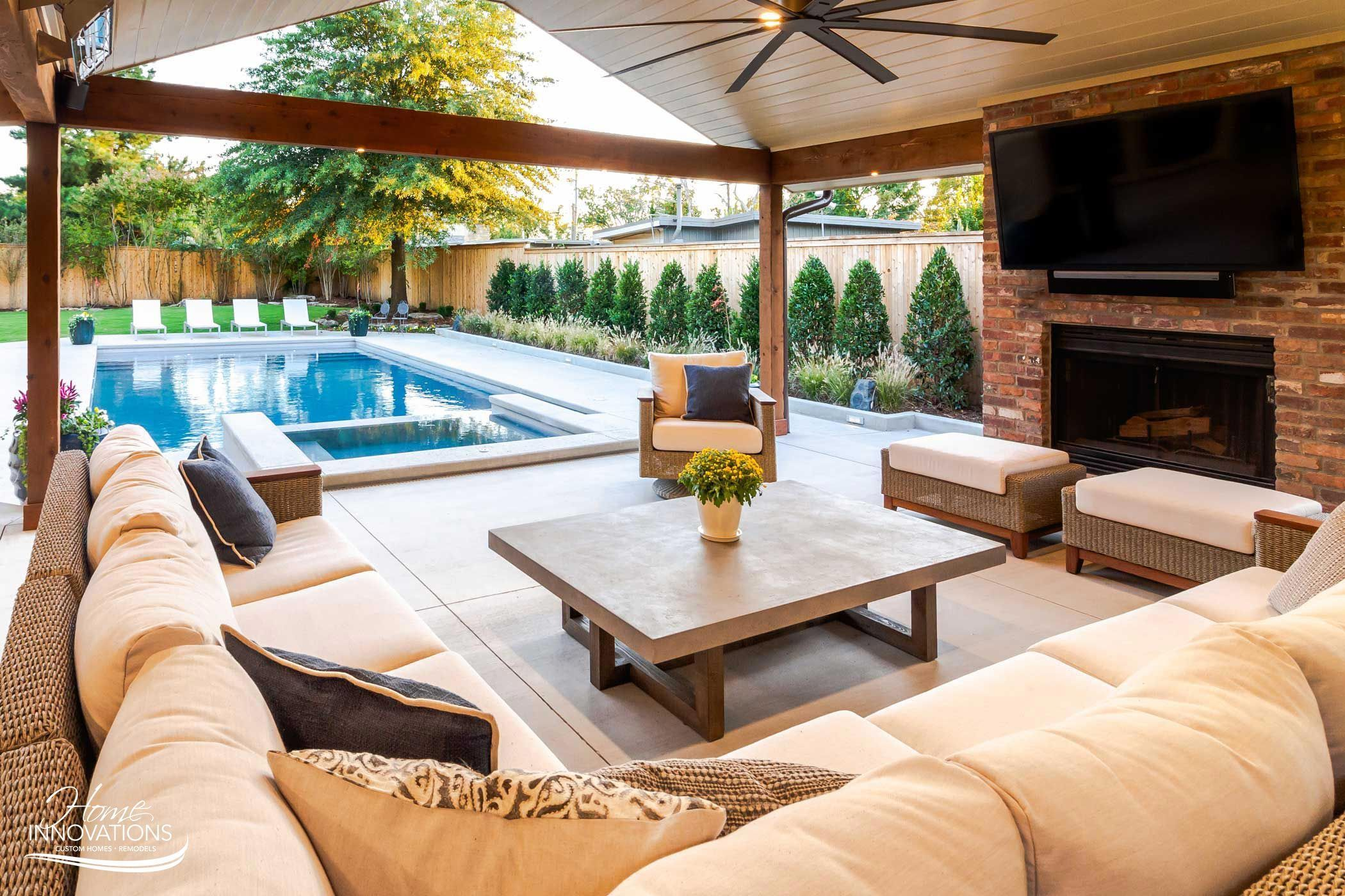 Outdoor Remodel Tulsa Oklahoma Swimming Pool Hot Tub Outdoor Kitchen Livi In 2020 Outdoor Living Space Design Outdoor Living Rooms Outdoor Remodel