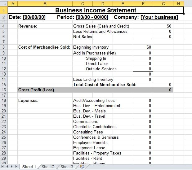 Simple Business Income Statement Template Excel Templates - profit and loss statement simple