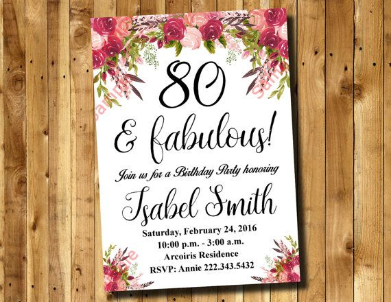 80th Birthday Invitation Watercolor Flowers Invitation Floral