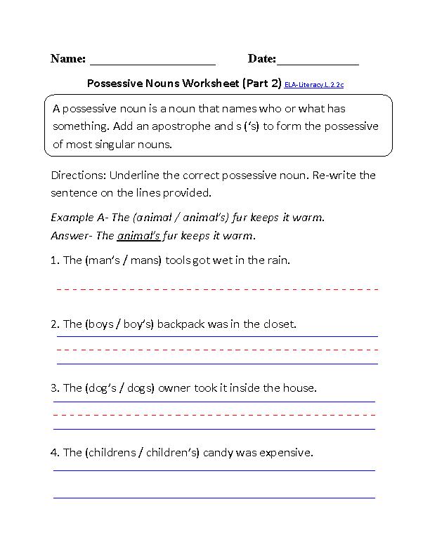 Possessive Nouns Worksheet 2 Ela Literacyl22c Language Worksheet