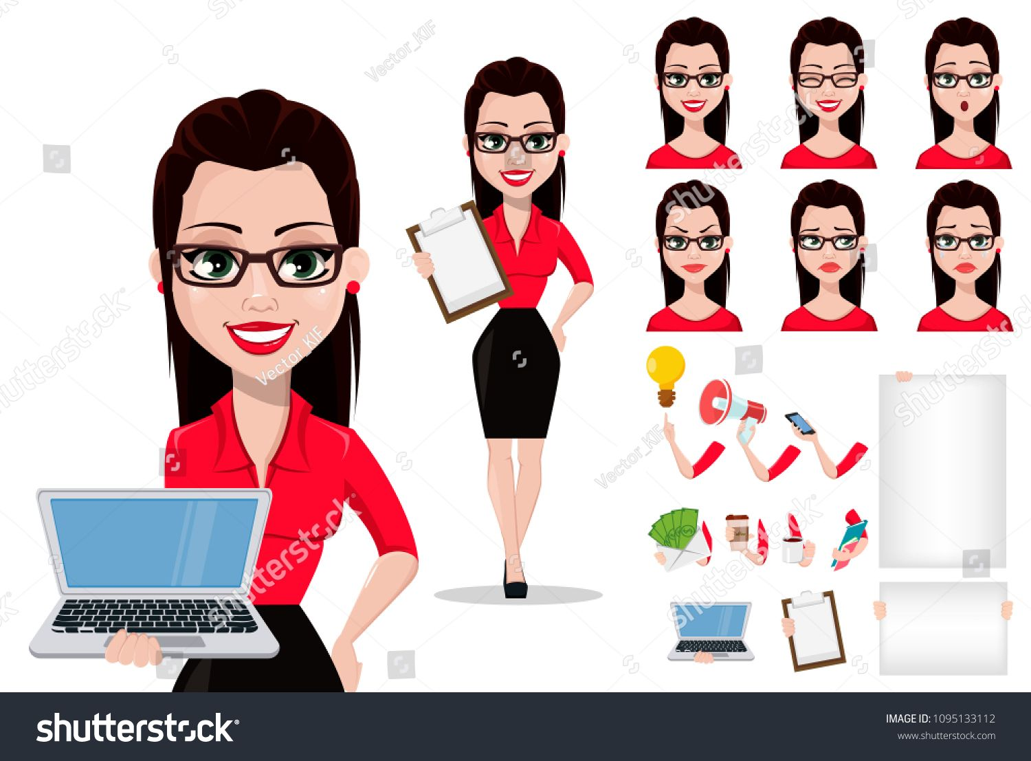 Photo of Sexy secretary, cartoon character creation set, pack of body parts, emotions and things. Beautiful office assistant in office style clothes. Vector illustration