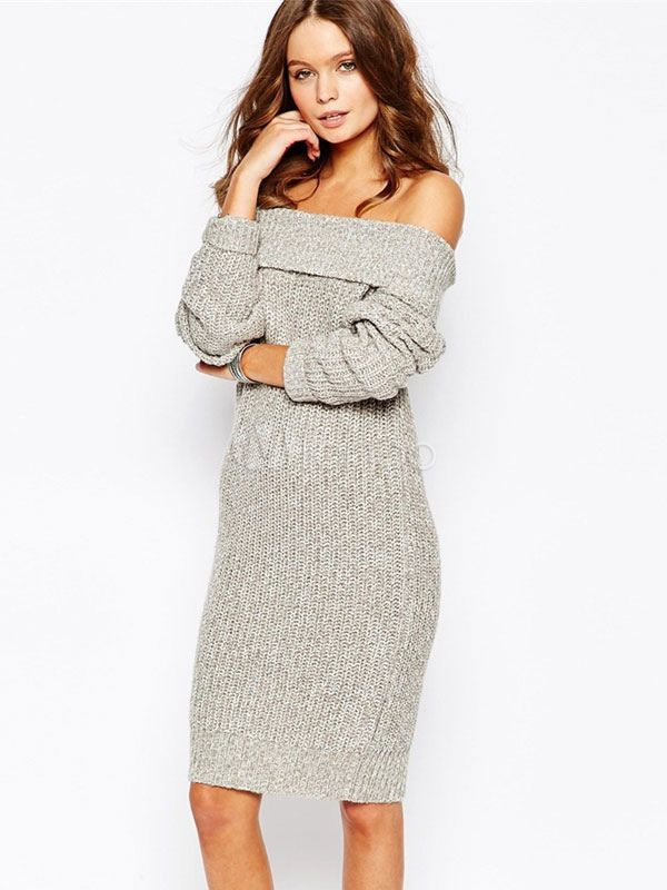 83c1ac9f171 Women s Gray Off-the-shoulder Slim Knit Sweater Dress