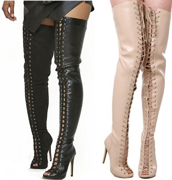Cheap Lace Up Thigh High Boots - Yu Boots
