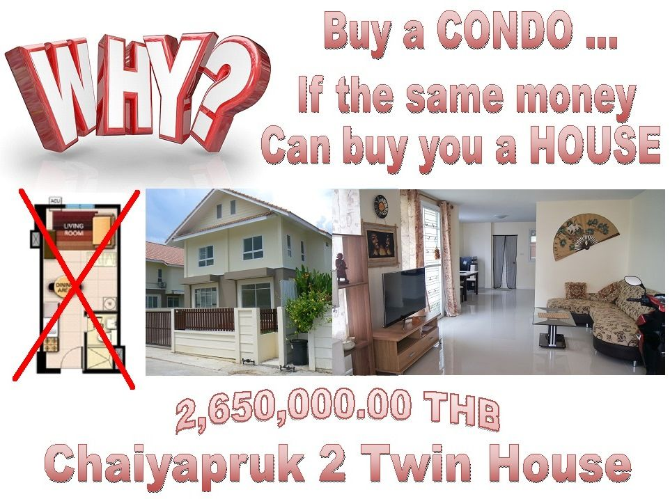 Pattaya House for Sale: East Pattaya, Chaiyapruk 2 area, few kilometers to beach, twin House with 2 bedrooms and 3 bathrooms, open plan kitchen, terrace, garden, parking space, living room, selling  2,650,000.00 THB, call 0800176100 and look at the pictures: http://houseforsalethailand.net/pattaya-twin-house-for-sale/
