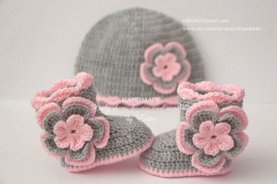 Crochet baby girl set baby booties hat baby shoes boots | socks ...