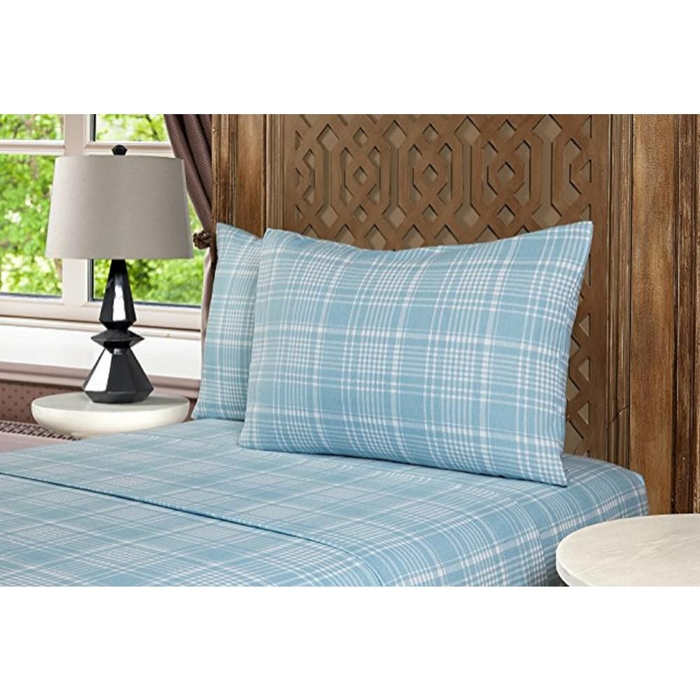 Morgan Home Fashions Geraldine 100 Cotton Blue Flannel Queen Sheet Set