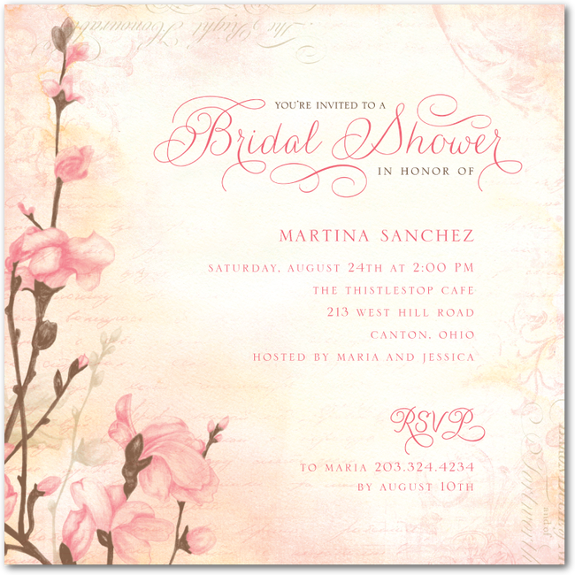 romantic budsbisque potential bridal shower invite3285 for 15 cards