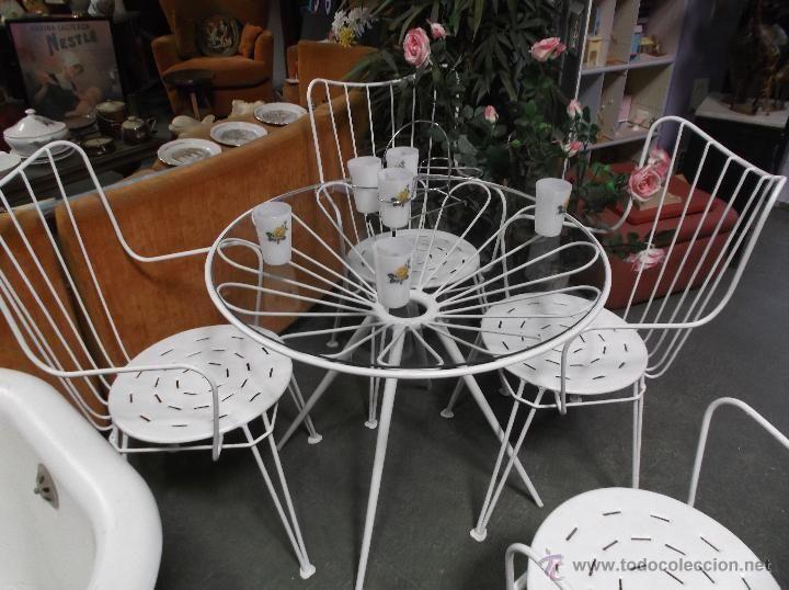 Conjunto de mesa y 4 sillas de jardin o terraza for Conjunto de mesa y sillas para terraza