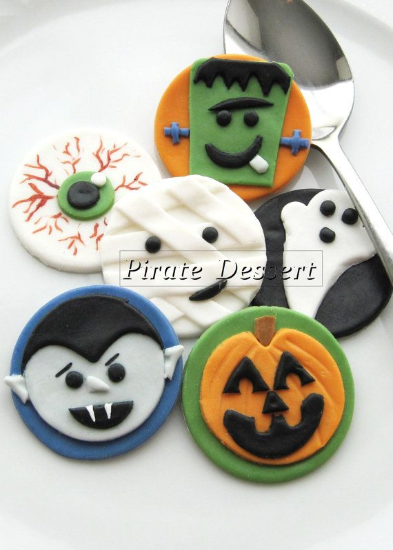 edible halloween cupcake toppers monsters fondant cake decorations halloween cupcakes 6 pieces - Halloween Decorations Cupcakes