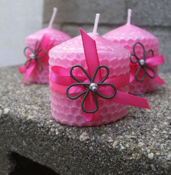 Wedding, Pink, Favors, Flower, Candles, Candle, Natural, Ribbons