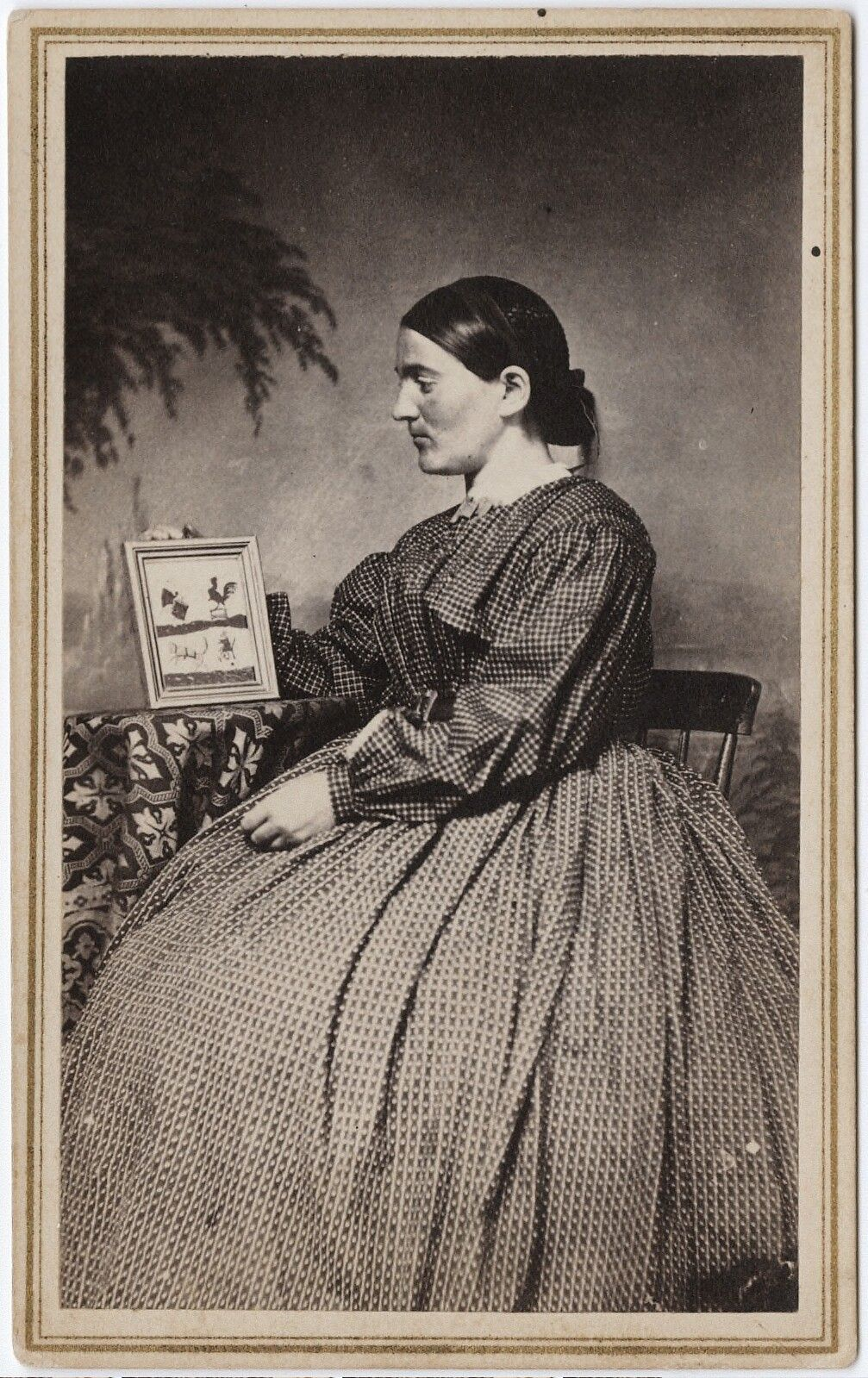 1855 95 Carte De Visite Portrait Of A Woman Holding Framed Picture Joseph P Lowe Via The Yale Collection Western Americana Be
