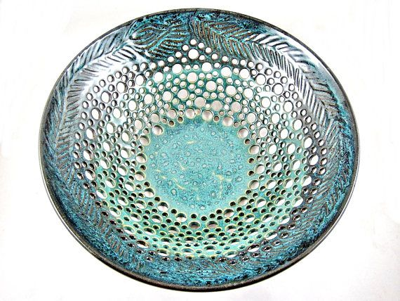 Pottery fruit bowl , Ceramic fruit bowl , modern home decor in Sea foam green, Sea foam green ceramic art piece - In stock 20 FB I This lovely lace look fruit bowl is very delicate and unique looking. It light and well crafted. After wheel throwing process, it has been carved by