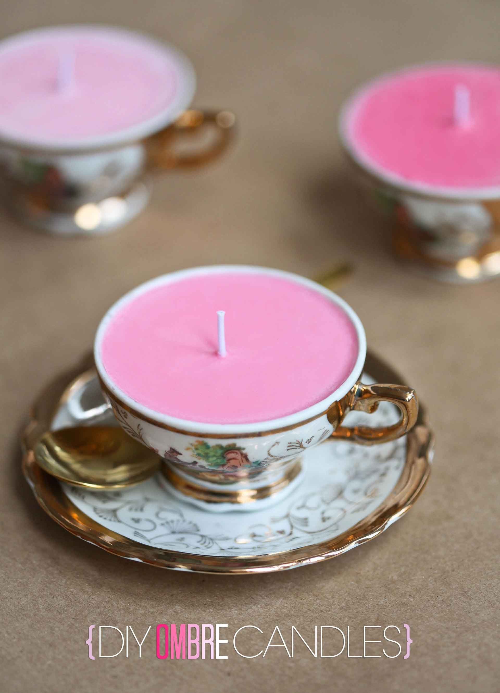 How to Make Candles in Teacups | DIY CANDLES | Pinterest | Diy ombre ...