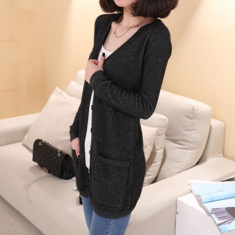 Dmart7deal Lady Wool Sweater Fashion Medium Long Cashmere Cardigan ...
