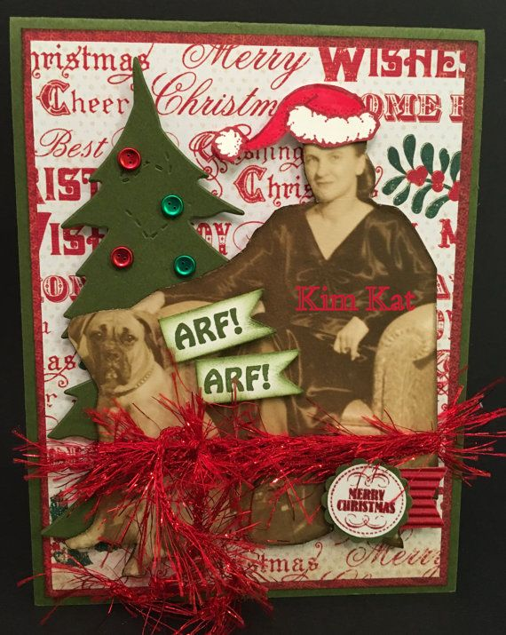 Pop Up Card Christmas 3D Vintage Photo Lady Dog Tree by KimKatShop