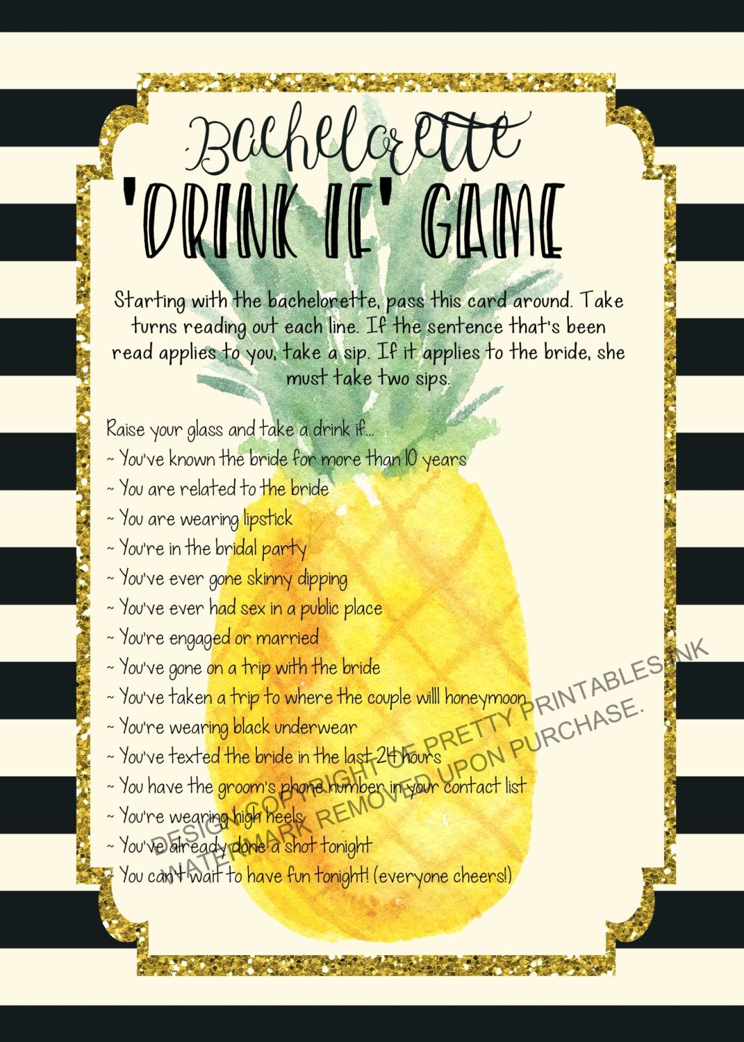 INSTANT DOWNLOAD printable bachelorette game