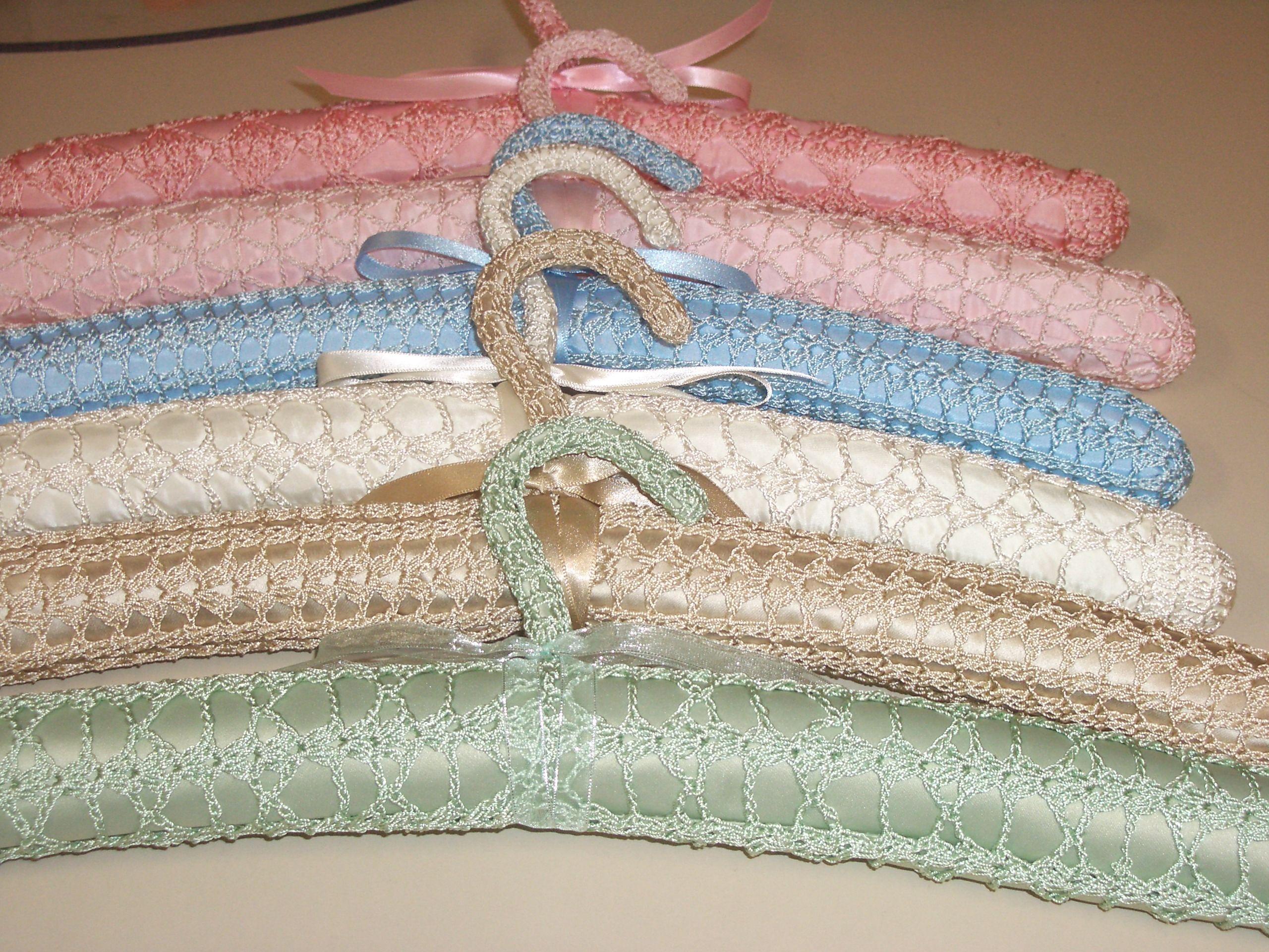 Knitting Coat Hangers : Vintage pattern silk crochet covered coat hangers