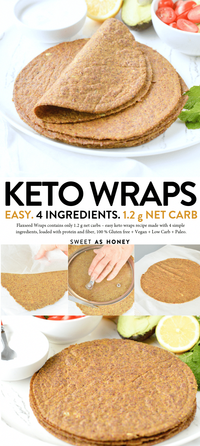 Flaxseed Wraps are NO carbs easy keto wraps recipe made with 4 ingredients. 100% low carb + gluten free + vegan. An easy protein wrap recipe (9g/wrap) to enjoy finger food while boosting your body with wholefoods.