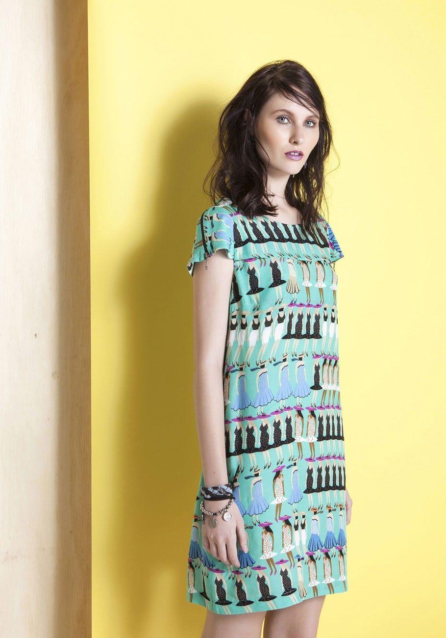 e7065f45d Vestido viscose manga detalhe zíper estampa damas da cidade - Vestidos