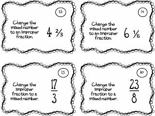 Task cards to practice changing from improper fractions to