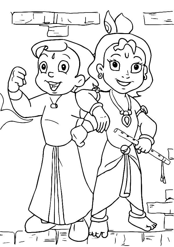 Krishna And His Strong Brother Balaram Coloring Pages Download Print Online Coloring Superhero Coloring Pages Cartoon Coloring Pages Easy Cartoon Drawings