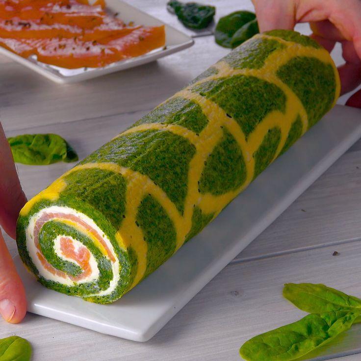 Rollo Estampado Con Salmon Y Espinacas Le Da Color A La Mesa Del
