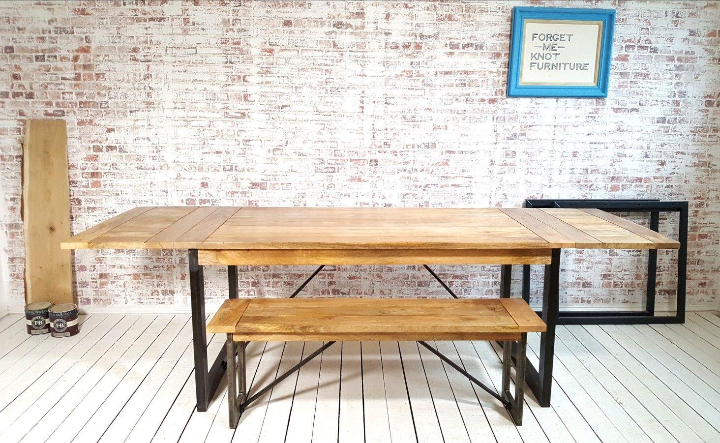 Extendable Rustic Hardwood Industrial Dining Table Seats Up To
