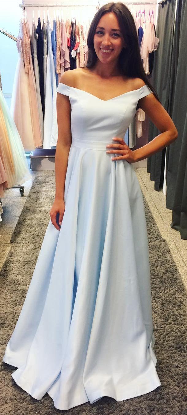 Off the shoulder satin prom dresses light sky blue cheap long formal
