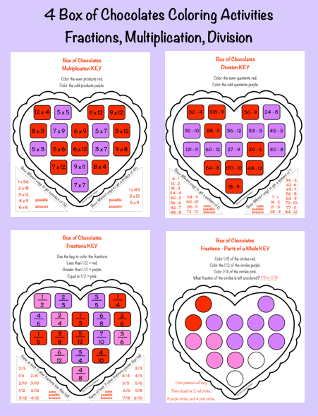 4 Valentine S Day Math Worksheets Multiplication Division Fractions Math Valentines Holiday Worksheets Math Lesson Plans