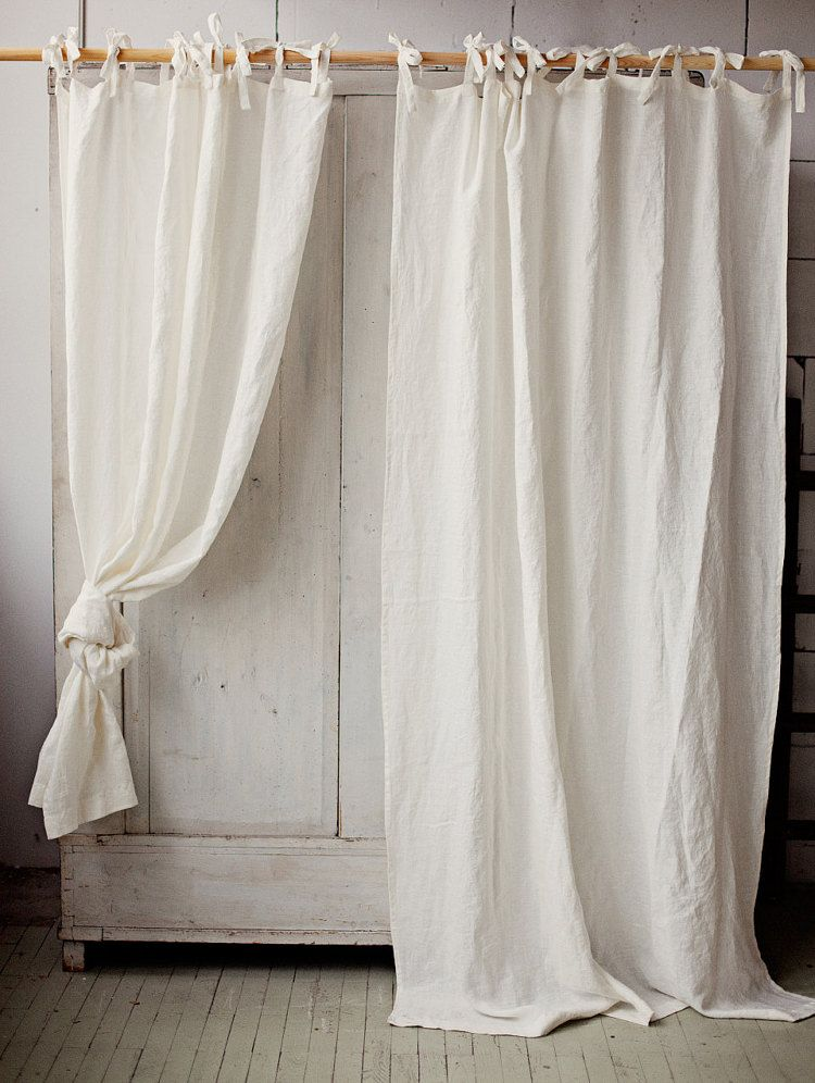 Tie Top Linen Curtain Panel Various Colours Semi Sheer Window