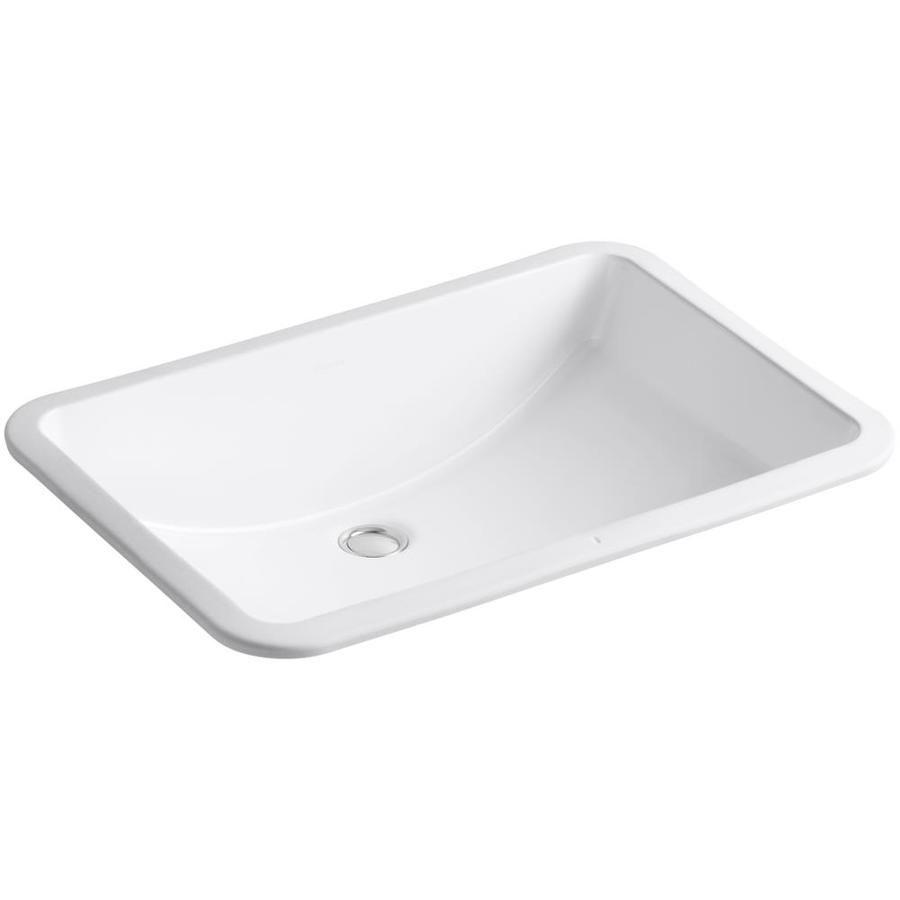 Kohler ladena white undermount rectangular bathroom sink with