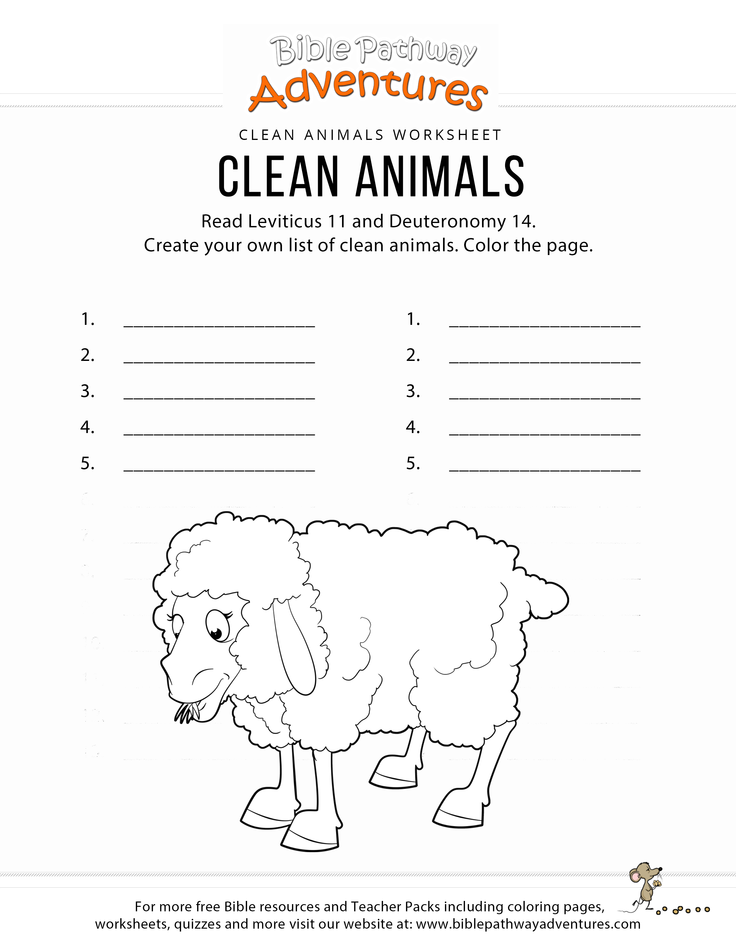 Clean Animals Bible Coloring Page