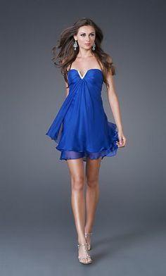 Vestido corto fiesta azul electrico