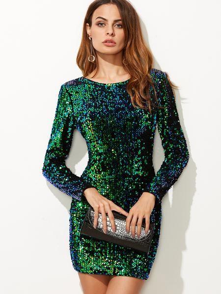 eaedc40c573 Green Iridescent Long Sleeve Sequin Bodycon Dress - Zooomberg ...