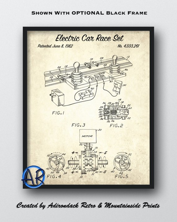 Bon Electric Car Race Set Framed Patent Print   1982 Electric Car Patent Art    Toy Car Blueprint Art   M