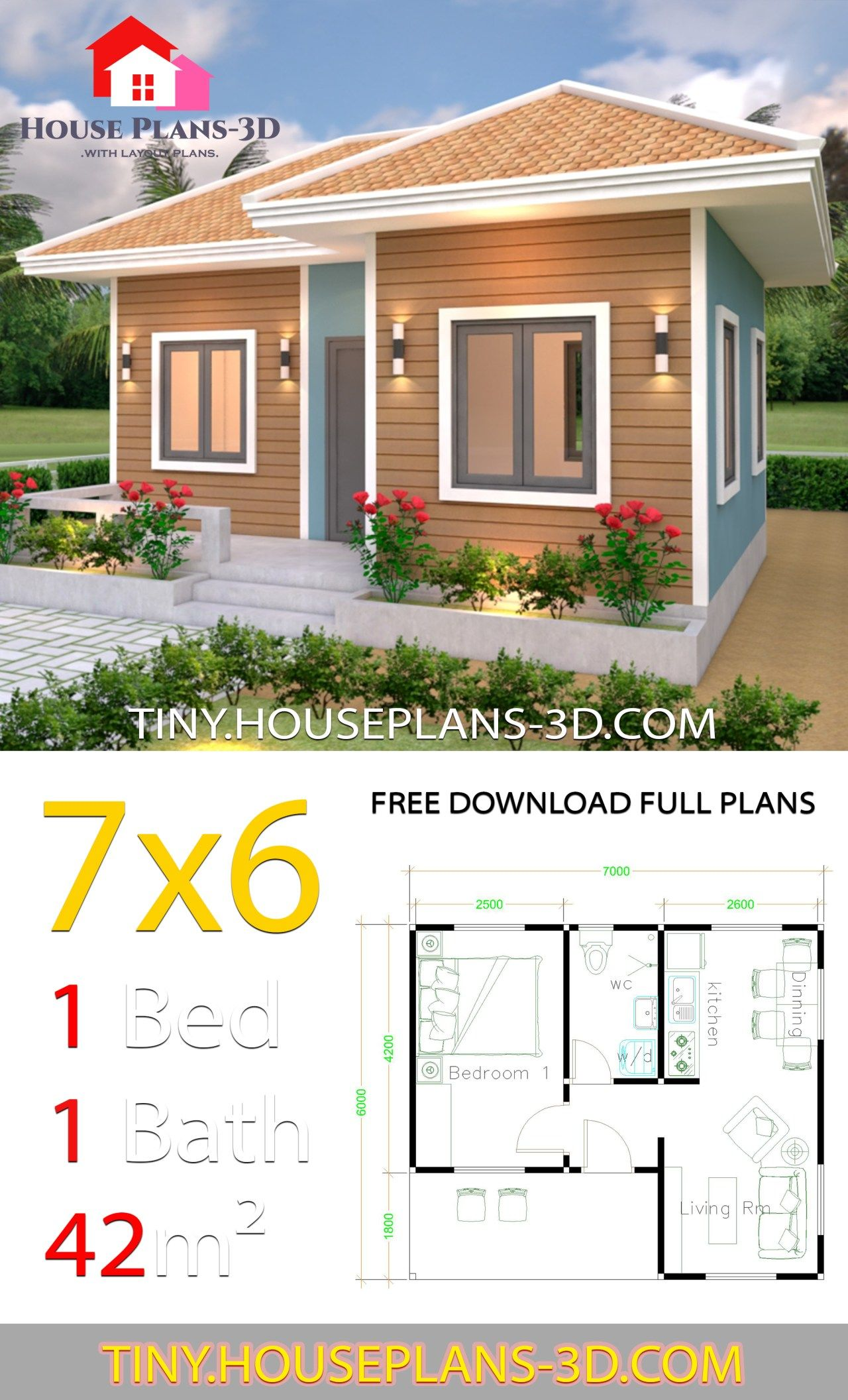 Tiny House Plans 7x6 With One Bedroom Hip Roof Tiny House Plans Tiny House Plans House Plans How To Plan